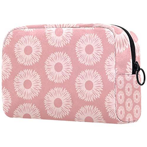 FURINKAZAN Bolsa de maquillaje de viaje para artículos de tocador, bolsa de maquillaje, diseño floral, color rosa claro, para hombres y mujeres