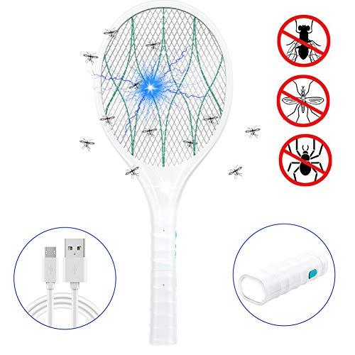 EXTSUD Matamoscas Electrico Raqueta Matamoscas Eléctrica Raqueta Mosquitos Recargable por USB, Iluminación LED, Mango Extraíble, Protección de Malla de Doble Capa