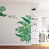 Green Plants Fresh Leaves Wall Decals, Banana Leaf Tropical Plants Wall Decals, Removable Palm Tree...