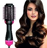 Deasy Cepillo secador de pelo y cepillo iónico eléctrico de calentamiento Cepillo alisador de pelo multifuncional Secador de pelo 3 en 1 Creador de volumen