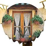 VICWOWONE - Mantel redondo de 50 pulgadas con ventana de edificio histórico con cortina de encaje clásica en el interior, sin arrugas, beige y verde