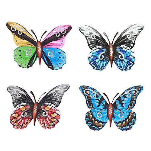 Flox - Juego de 4 esculturas de mariposa de metal de color de hierro forjado, apto para dormitorio, salón, baño y decoración de pared de jardín.