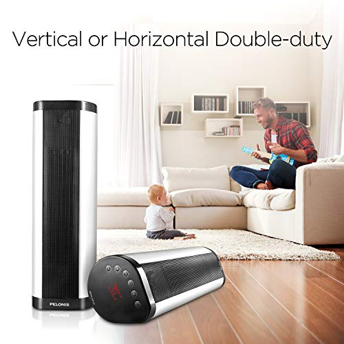 PELONIS NTH15-17BRA Portable 1500W Vertical and Horizontal Ceramic Tower Space Heater, Internal Oscillation, with Remote Control, Programmable Thermostat & 24H Timer and Overheating Protection, White