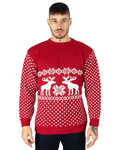 Maglione natalizio per uomo, motivo renne Red Large