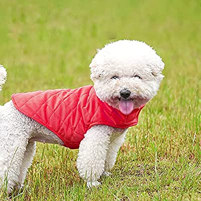 Dog Coat Jacket, Etechydra Winter Warm Dog Vest Coat, Soft Fleece Dog Clothes, Lightweight Cozy Dog Jackets for Small Medium Large Dogs Sweater, Red S