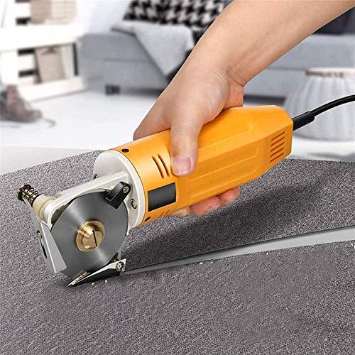 4YANG Tijeras de tela eléctrica mejoradas, cortadora de tela Mini cuchilla de octágono giratoria eléctrica portátil Diámetro de cuchillo redondo 70 mm 220V para cortar tela, cuero y alfombra