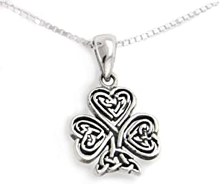 Celtic Knot Irish Shamrock 3-Leaf Clover Sterling Silver Pendant with 18