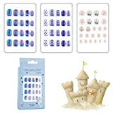 60pcs Blue Shiny Kids Fake Nails press on Self-adhesive artificial flake nails...