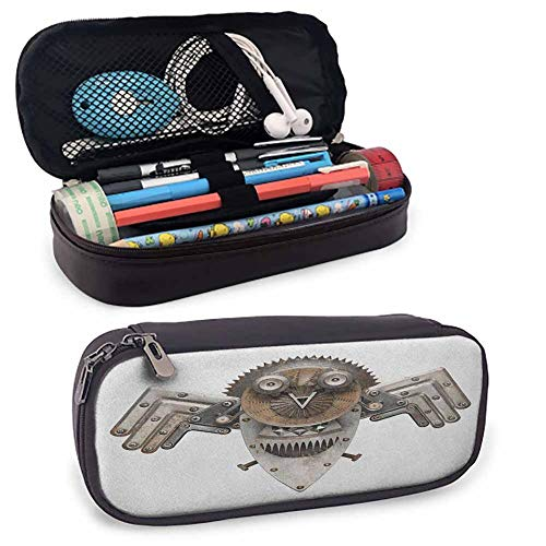Industrial Pencil Bag, Stylized Collage with Owl Figure Cog Hardware Gear Machinery Animal Print for Student Office College Middle School High School Grey White Brown