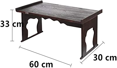 ASHDZ Wood Antique Tea Table Foldable Tatami Table Traditional Asian Furniture Living Room Low Dinner Floor Table (Color : 60X33X30 cm)