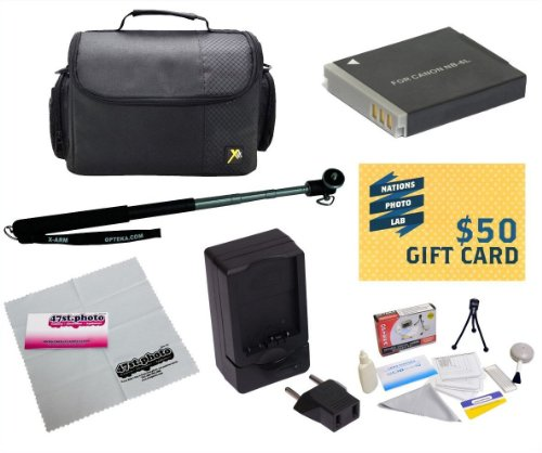 47th Street Photo Best Value Point & Shoot Accessory Starter Kit for Canon PowerShot SX170 IS SX280 IS S120 Digital Camera Includes Extended Replacement NB-6L Battery + AC/DC Travel Charger + Self Portrait Monopod + Mini tripod + Deluxe Carrying Case + Screen Protectors Photo Print ! Deluxe Cleaning Kit + More