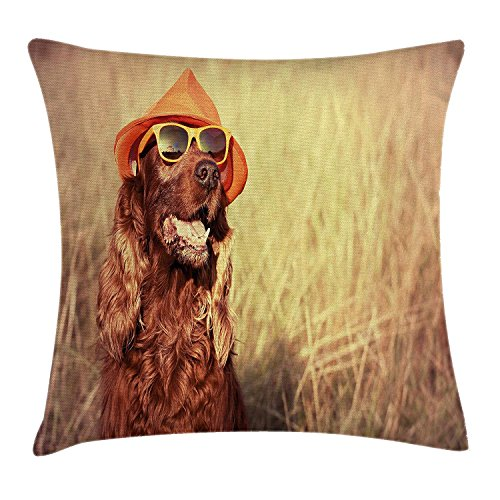 KLYDH Animal Decor Throw Pillow Cushion Cover, Funny Retro Irish Setter Dog Wearing Hat and Sunglasses Humor Joy Picture, Decorative Square Accent Pillow Case, 18 X 18 Inches, Redbrown Tan