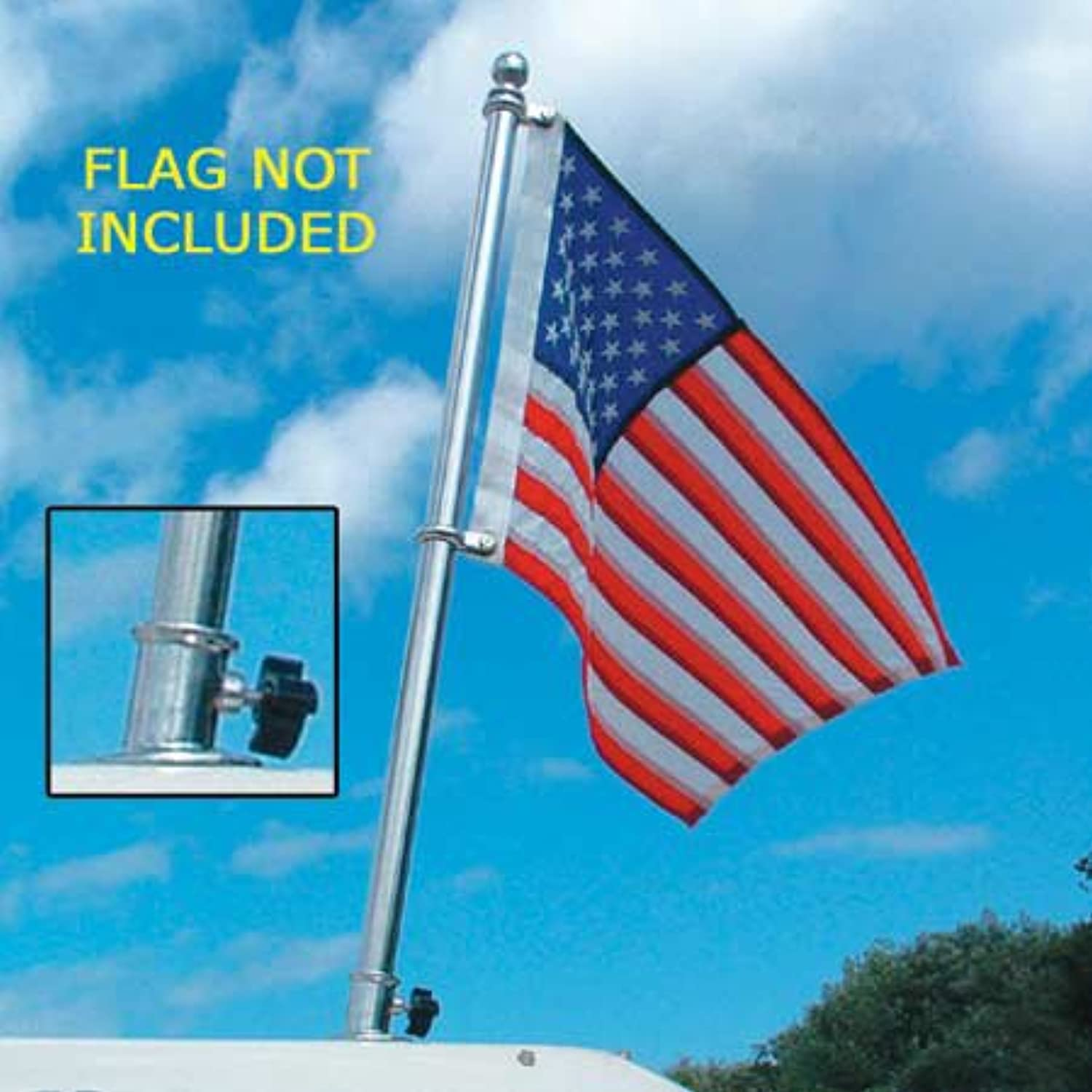 Taylor Made Products, Flag Pole Set, Polished Stainless Steel, 902, 18 inch Length