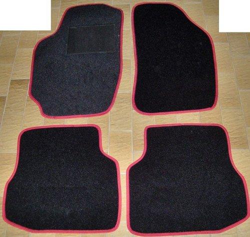 Lot complet de tapis de voiture sur mesure en moquette noire avec bord rouge