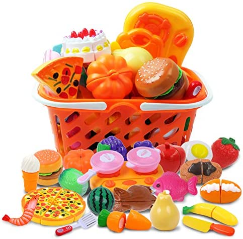 DigHeath 34 Pcs Pretend Play Food Set, Kids Cutting Toys, Children's Food Fruits Vegetable Kitchen Playset with Knife and Basket , BPA Free Plastic Play Food for Toddlers, Educational Baby Toy