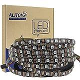 ALITOVE 12V WS2812B RGB Addressable LED Strip Light WS2813 12V LED Pixel Tape Light WS2815 Programmable LED Flexible Strip 16.4ft/5m 300 LEDs Not Waterproof Black PCB for Decor Lighting Project