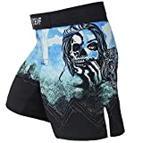 FTEIF MMA Fight Shorts Breathable Boxing Trunks Outdoor Running Fitness Shorts-Blue L