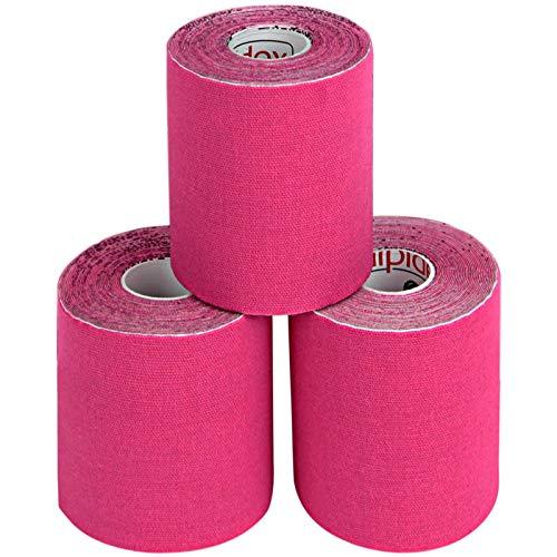 ALPIDEX 3 Rollen Kinesiologie Tape 5 m x 7,5 cm Breit Elastisches Tape Set, Farbe:pink