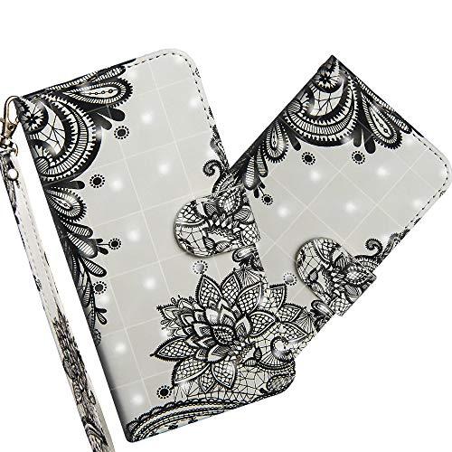 COTDINFOR LG V50 ThinQ Hülle 3D-Effekt Painted cool Schutzhülle Flip Bookcase Handy Tasche Schale mit Magnet Standfunktion Etui für LG V50 ThinQ Diagonal Black Flowers YX.