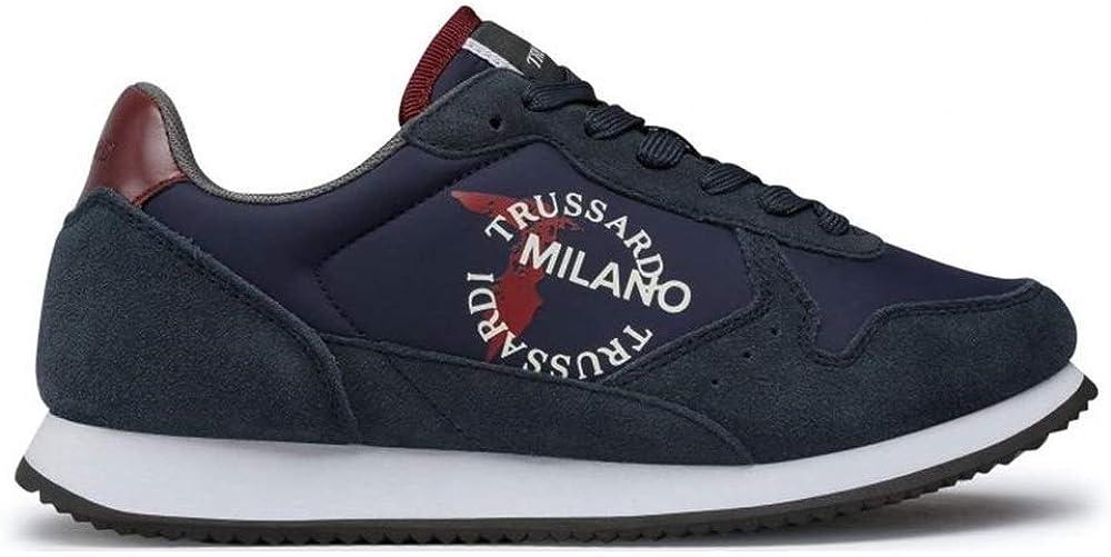 Trussardi jeans, scarpe sneakers casual sportive basse per uomo, 77A00282