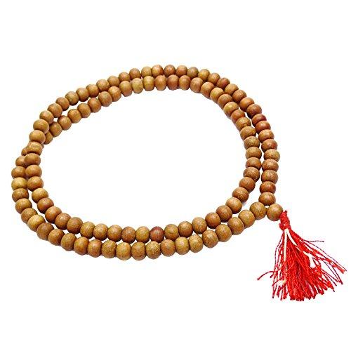 Indianbeautifulart Traditionelles Sandelholz Japa Mala Braunes Rosenbeet-Gebet-Korn-Meditation