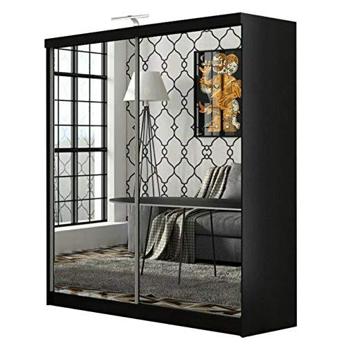 MN Furniture Bedroom FULL MIRROR Double Sliding Door Wardrobe with LED Light (Black, 150cm)