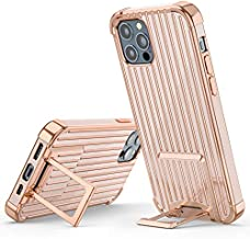 PTUONIU Kickstand Case for iPhone 12 Pro Max, [Two-Way Stand] Slim Soft Full-Body Stylish Shockproof Protective Phone Case iPhone 12 Pro Max (6.7 inch) 2020-Rose Gold
