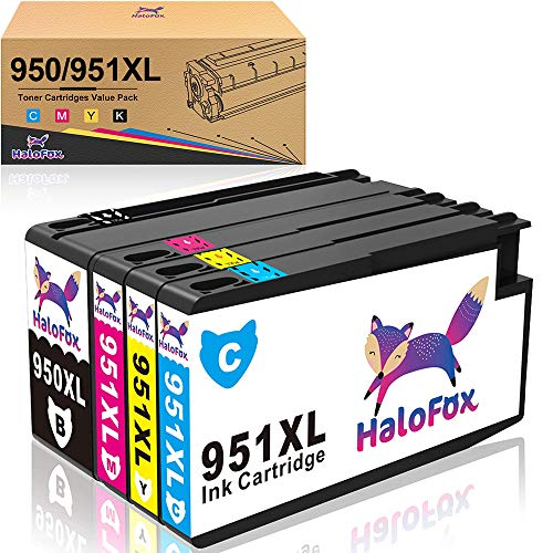 Halofox, cartucce inchiostro di ricambio 950XL 951XL ad alta resa, per stampanti HP Officejet Pro 8600 Plus 8610 8615 8620 8625 8630 8640 8660 8100 251dw 276dw e All-in-One 4-Pack (Black, Cyan, Magenta, Yellow)