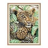 Set de bordado de tapicería'Animal Leopard Series' Juego de bordado de media puntada de 43x36cm.Incluyendo hilo de algodón de múltiples hilos cod.721