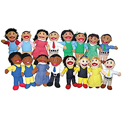 """Constructive Playthings Set of 4 Full Bodied Open Mouth Family Puppets with 15"""" H. Mothers & Fathers and 13"""" H. Sisters & Brothers All with Yarn Hair and Embroidered Facial Features for Ages 19 Mos + by US Toy & Constuctive Playthings"""