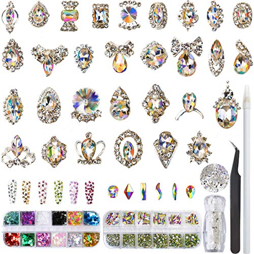 Rhinestones for Nails Art, Glass Gems Crystal AB Nail Diamonds and 3D Nail charms, Pixie Mini Beads & Nail Decorations Butterfly Sequins