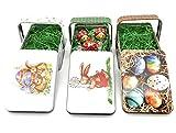 Perfekto24 - Set di 3 contenitori pasquali per Pasqua, set regalo pasquale con erba di Pasqua extra, set da 3 pezzi, ideale come idea regalo per Pasqua