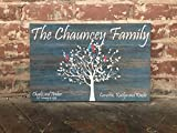 Personalized Family Tree, Custom Canvas Sign, Personalized Gift Distressed Blue Wood Background, Love Birds, Perfect Birthday, Anniversary, Wedding Present