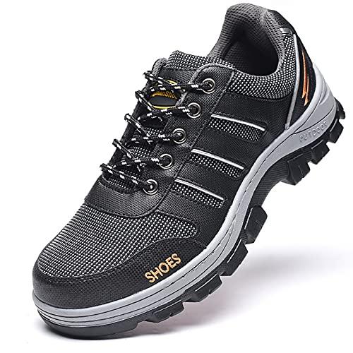 Zapatos de trabajo Entrenador de seguridad transpirable ligero, tapa de punta de acero Zapatos de trabajo protectores altos, zapatos for caminar a prueba de pinchazos Escalada de trekking al aire libr