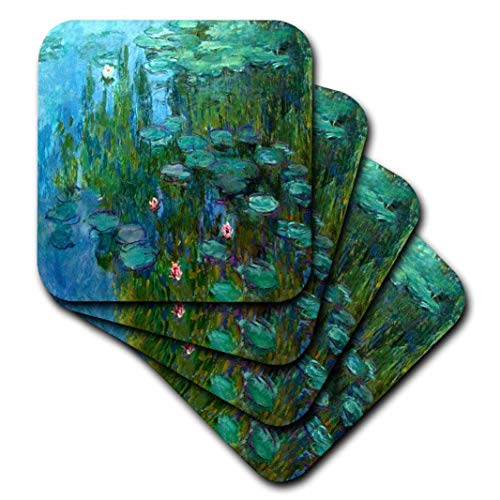 3dRose cst_49340_2 Monets Water Lillies Painting-Soft Coasters, Set of 8