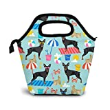 Sandcastles Beach Miniatura Pinscher Lunch Bag Reutilizable Tote Bag Lonchera aislada Adulto Large Lunch Tote Bolso Fordable para hombres y mujeres