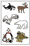 Premium Arctic Animal Temporary Tattoos, Party Favors: Reindeer, Polar Bear, Killer Whale, Snowy Owl, Penguin, Walrus