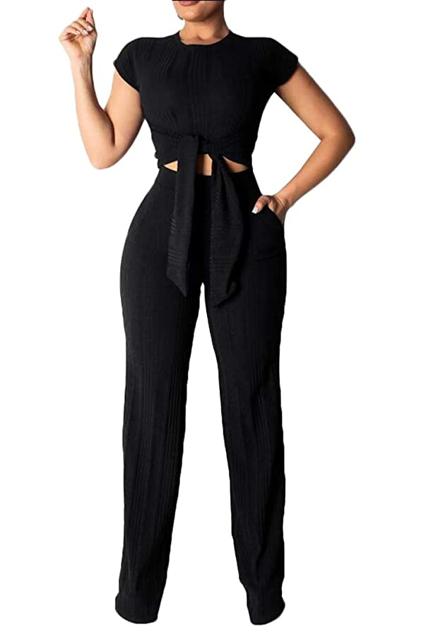 エロチックアルプスシャンプー女性ボディーコンジャンプスーツ服装セクシー半袖作物トップロングパンツ2片
