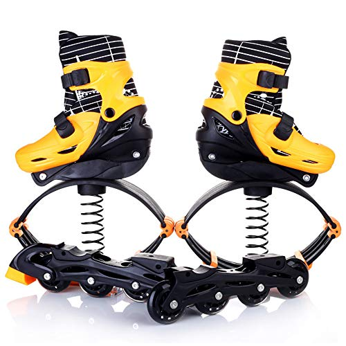 SEGIBUY Unisex Fitness Bounce Schuhe – Springschuhe Sport Känguru-Stiefel Fitness Hüpfschuhe Kinder Training Spielzeug, Gelb, S