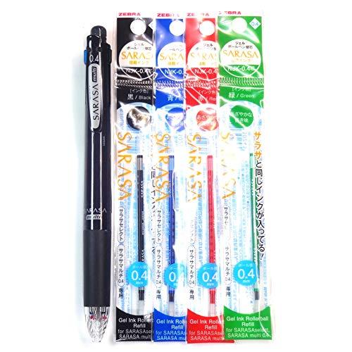 Zebra Sarasa Multi [4 Color Bolígrafo (0,4 mm) + Portaminas, 4 Color tinta Recambios Set (Importado de Japón)