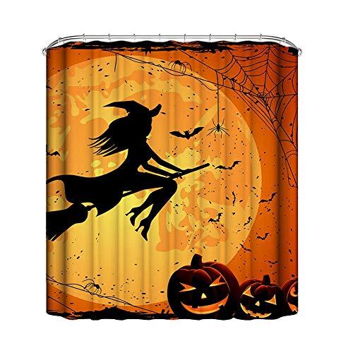 HY-MS Halloween Duschvorhang, Mond Hexe Kürbis Thematischer Druck Wasserdicht Polyester Stoff Badezimmer Dekor Vorhang 180 cm x 180 cm