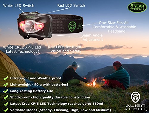 Head Torch by Alien Scout - High-End, Professional, Shockproof and Weatherproof LED Headlamp for Running, Camping, Cycling, Fishing, Dog Walking, Reading, Working, DIY Or Watching Nature - Adjustable, Lightweight and Ultrabright - White/Red/SOS Lighting Modes - includes Alkaline Batteries (Duracell or Energizer) and a Portable Hard Case