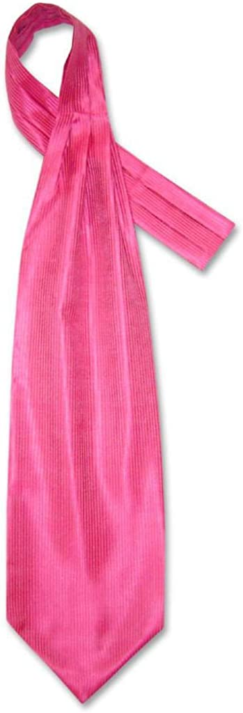 Antonio Ricci ASCOT Solid HOT PINK FUCHSIA Ribbed Color Cravat Men's Neck Tie