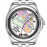 Personalisierte Herrenuhr Mode wasserdicht Uhr Armbanduhr Diamant 013.2 KAMPAGNENSTERNE IRAK Veteran