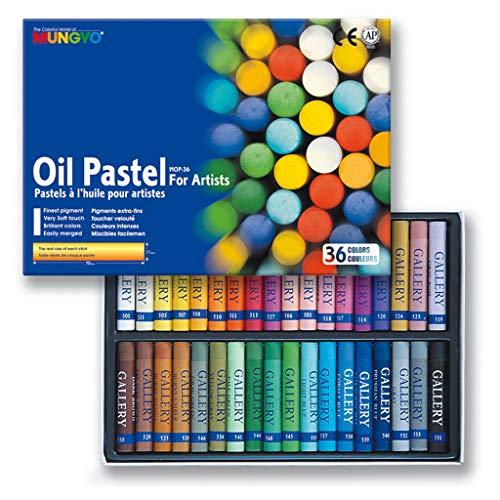 MUNGYO Set de 36 Pastels à huile couleurs 11 x 70 mm Assortis