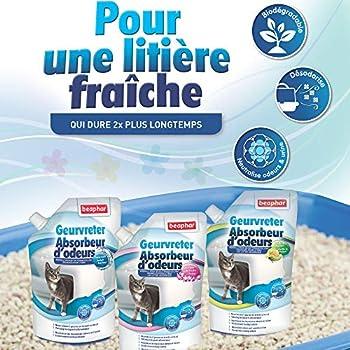 Beaphar - Absorbeur d'odeurs - Granulés concentrés pour litière pour chat - Neutralise les mauvaises odeurs - Laisse un agréable parfum (Vanille Melon) - 400 g = jusqu'à 3 mois d'utilisation