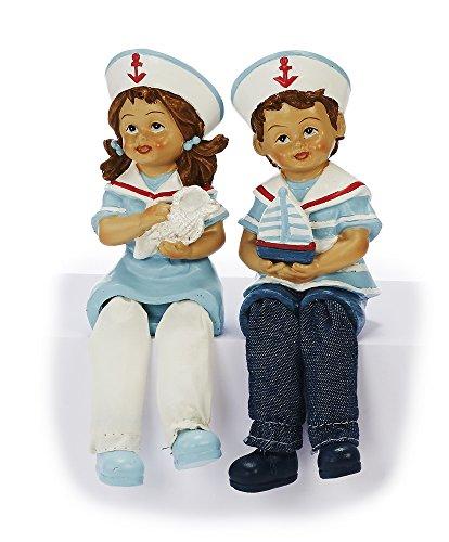 Unbekannt Sunny Toys Dekofigur, Polyresin, Blau, Rot & Weiß, 5 x 6 x 19 cm, 2-Einheiten