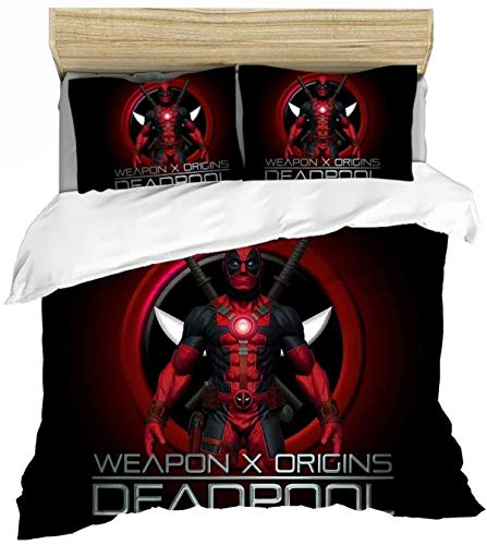 QWAS Deadpool 3D Children's Bed Sheet Full Size Animation Duvet Cover Microfibre Boys and Girls Decorating the Room (A02.220x240cm+50x75cmx2)