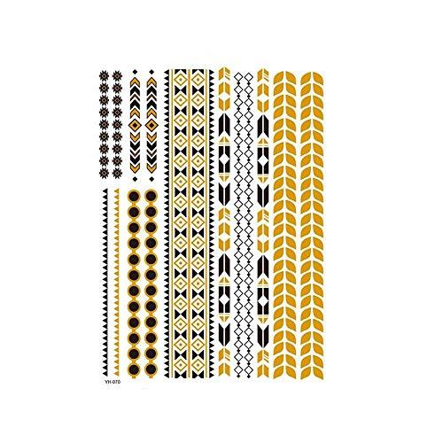 Autocollants de tatouage bronzage rétro autocollants de tatouage imperméables ensemble autocollants d'impression de couleur argent chaud-YH-070_148 * 210MM