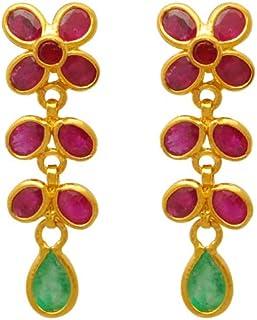 Lagu Bandhu 22k (916) Yellow Gold, Ruby and Emerald Drop Earrings for Women